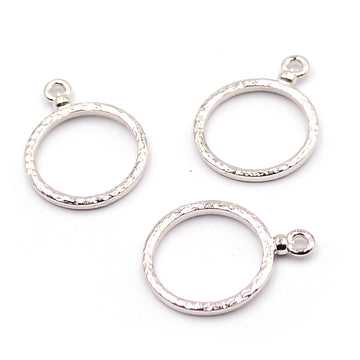 Hammered Hoops- Rhodium