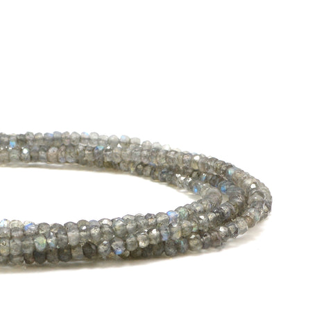 Labradorite Faceted Rondelle- 3-4mm