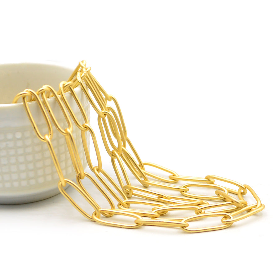 Large Paperclip Cable- Satin Gold