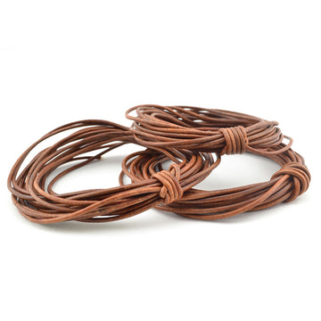 Distressed Brown- 1.5mm Indian , Leather - Leathercord USA, Beadshop.com - 2