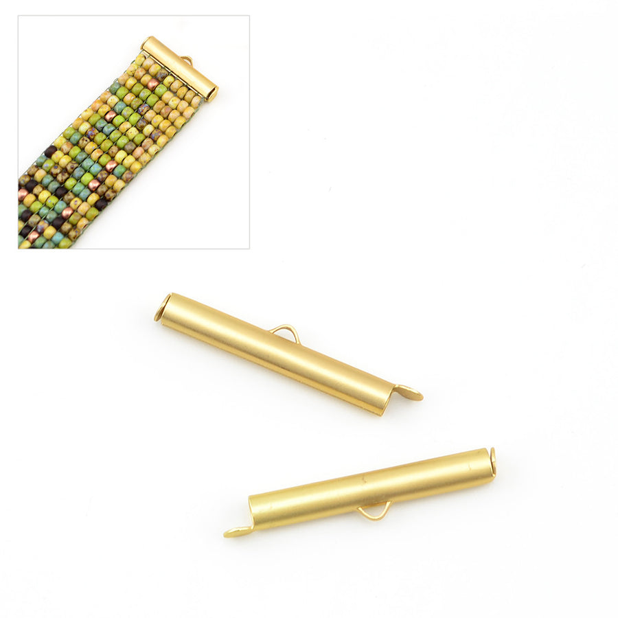 Large Slide Tube- Satin Gold , Crimps - Continental, Beadshop.com