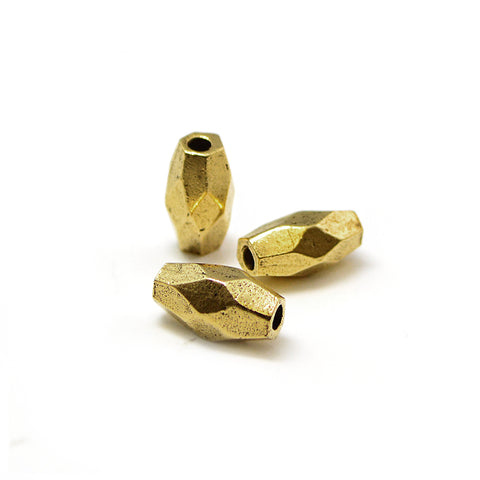 Faceted Tube- Antique Gold