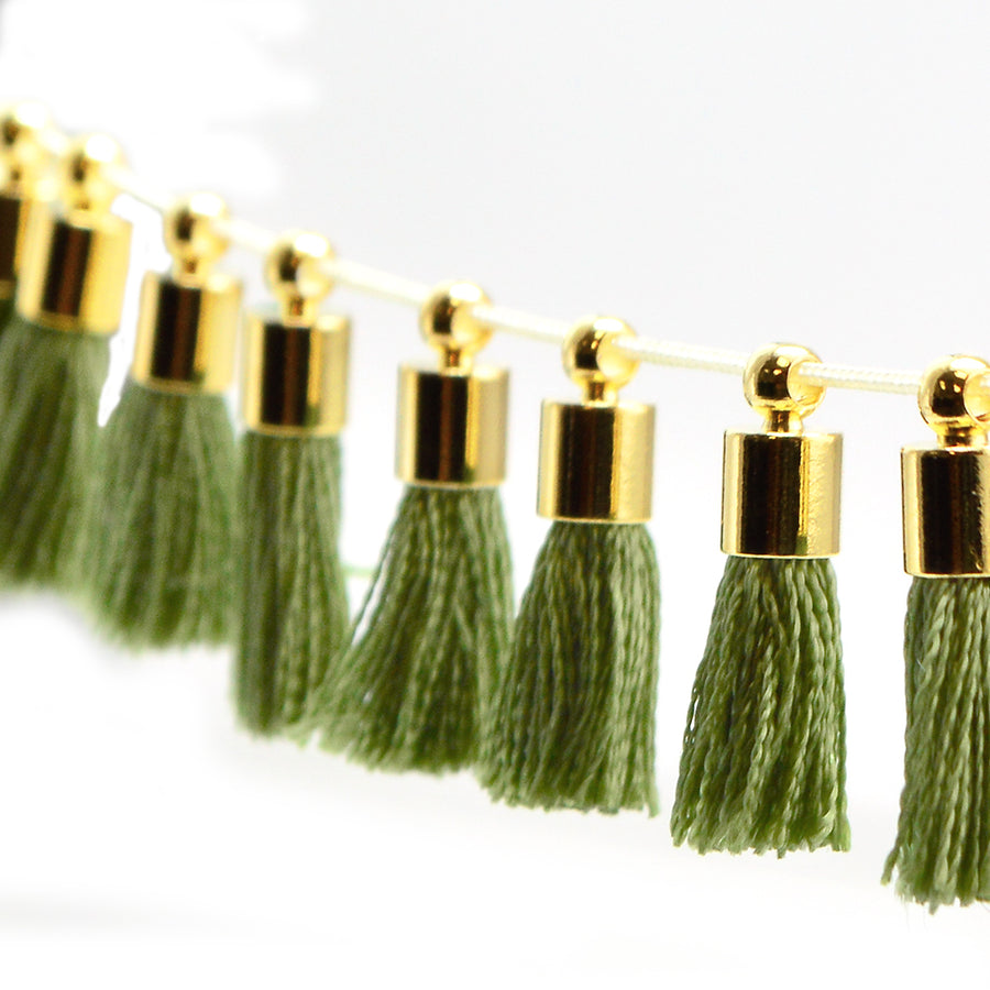 Tiny Tassel- Olive/Gold