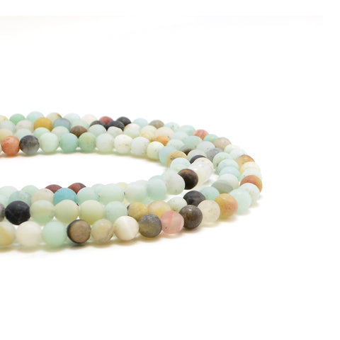 Matte Black-Gold Amazonite - 4mm