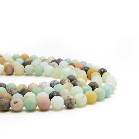 Matte Black-Gold Amazonite- 6mm