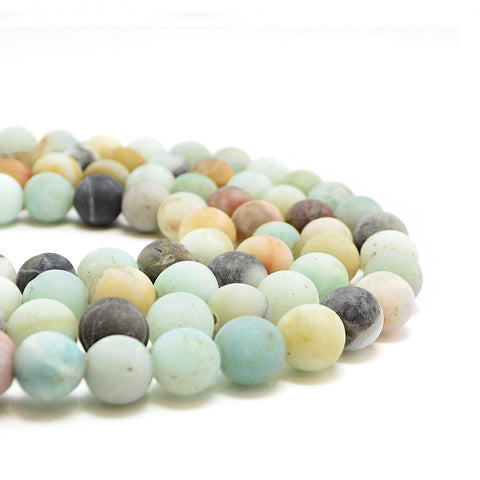 Matte Black-Gold Amazonite- 8mm