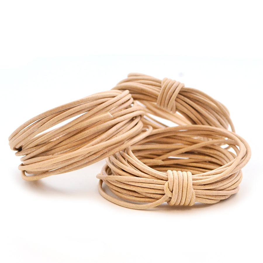 Natural- 1.5mm Indian , Leather - Leathercord USA, Beadshop.com