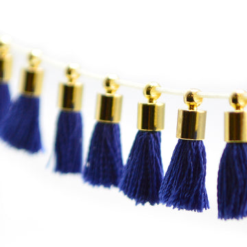 Tiny Tassel- Navy/Gold