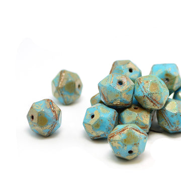 10mm English Cut- Blue Turquoise