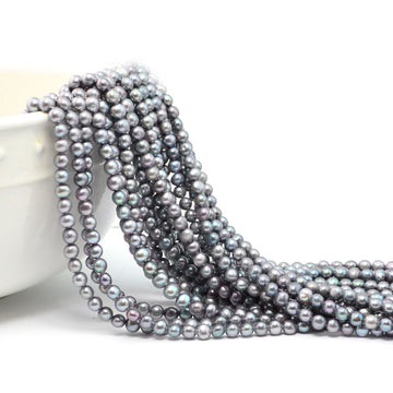 4-5mm Gray Almost Round Pearls