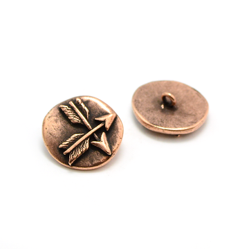 Crossed Arrows Button- Antique Copper