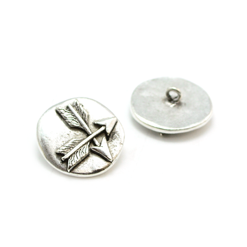 Crossed Arrows Button- Antique Silver