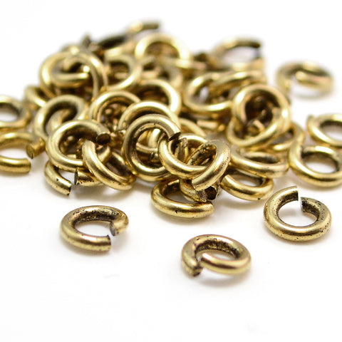 Antique Gold Jump Rings - 5.4mm/16g