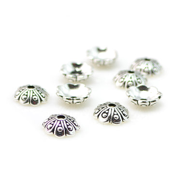 Oasis Cap, 8mm- Antique Silver