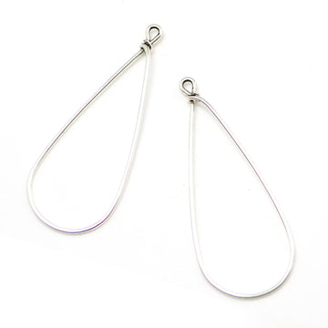 Drop Hoops- Antique Silver