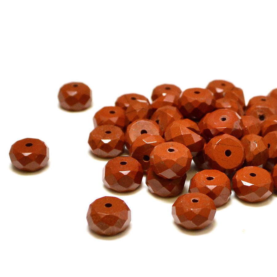 Red Jasper Rondelle- 8mm - Beadshop.com