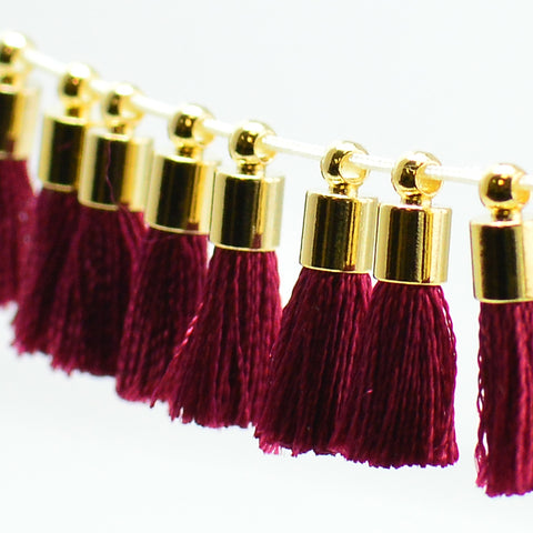 Tiny Tassel- Burgundy/Gold