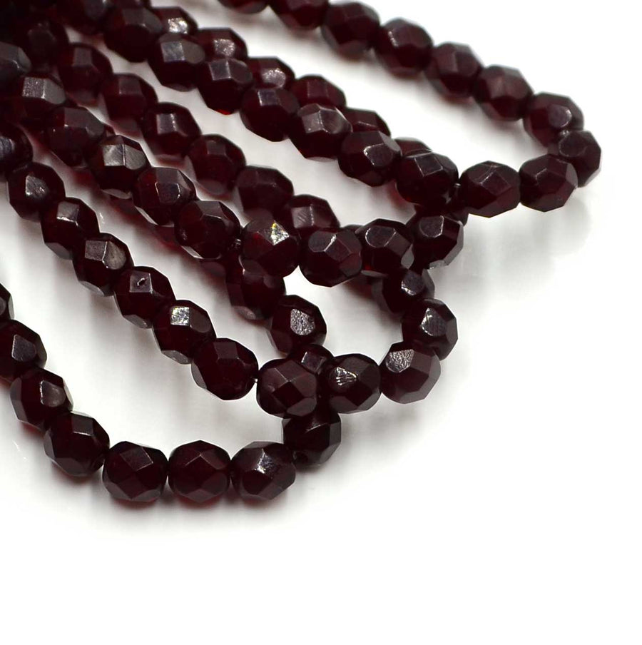 6mm- Ruby , 6mm Czech Glass - Picard, Beadshop.com