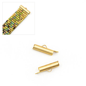 Small Slide Tube- Satin Gold , Crimps - Continental, Beadshop.com