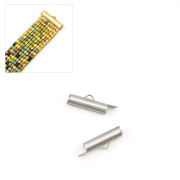 Small Slide Tube- Satin Silver , Crimps - Continental, Beadshop.com