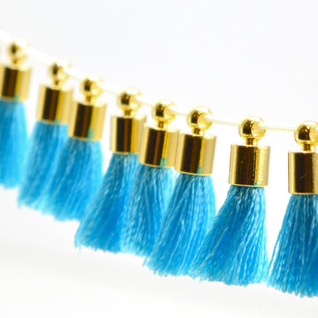 Tiny Tassel- Turquoise/Gold