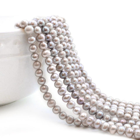 7mm Soft Gray Potato Pearls