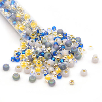 Blue and Grey Mix of 8/0 and 6/0 beads