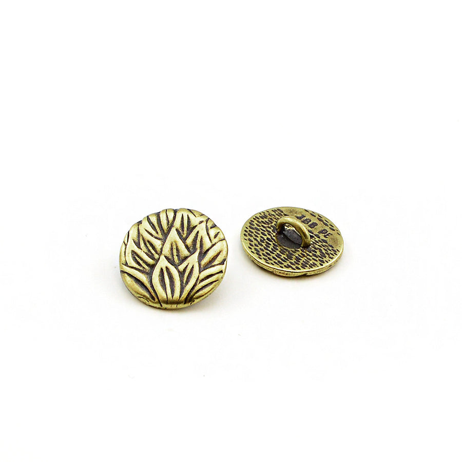 Tea Leaves- Antique Brass , Buttons - JBB International, Beadshop.com