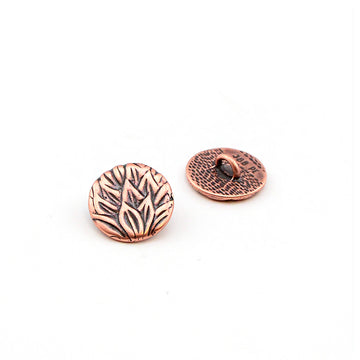 Tea Leaves- Antique Copper , Buttons - JBB International, Beadshop.com