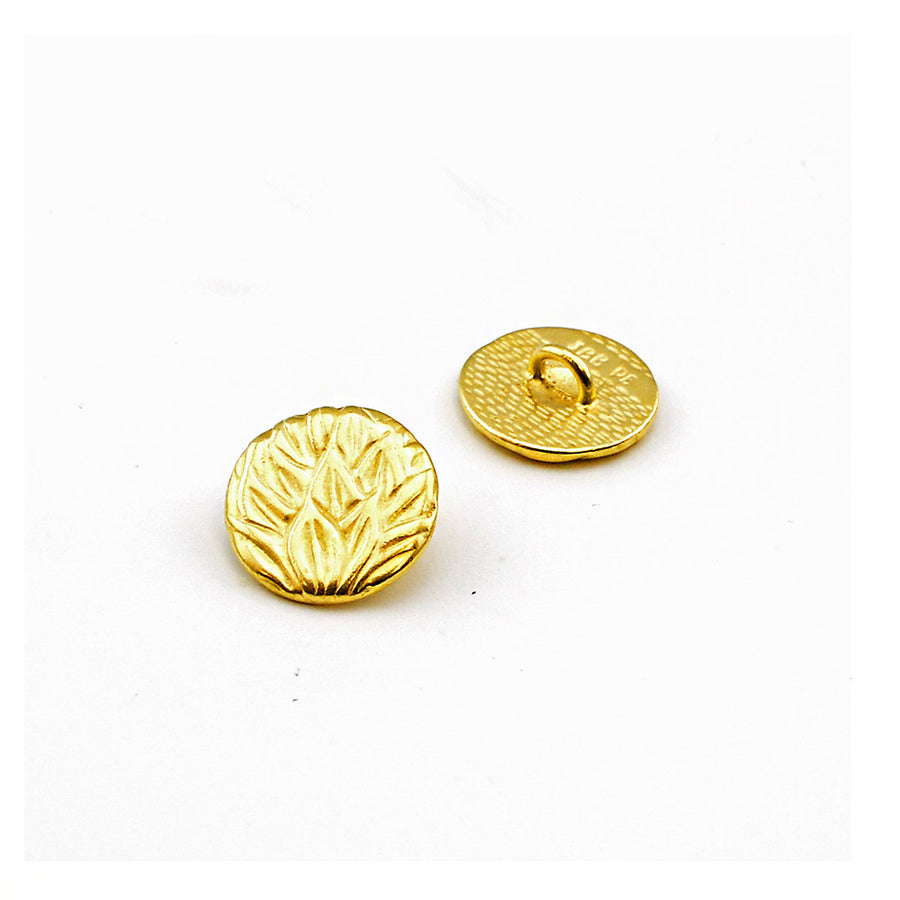 Tea Leaves- Satin Gold , Buttons - JBB International, Beadshop.com