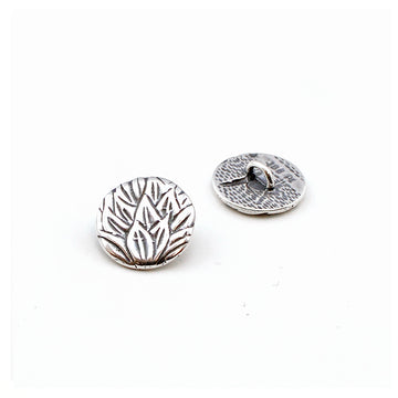 Tea Leaves- Antique Silver , Buttons - JBB International, Beadshop.com