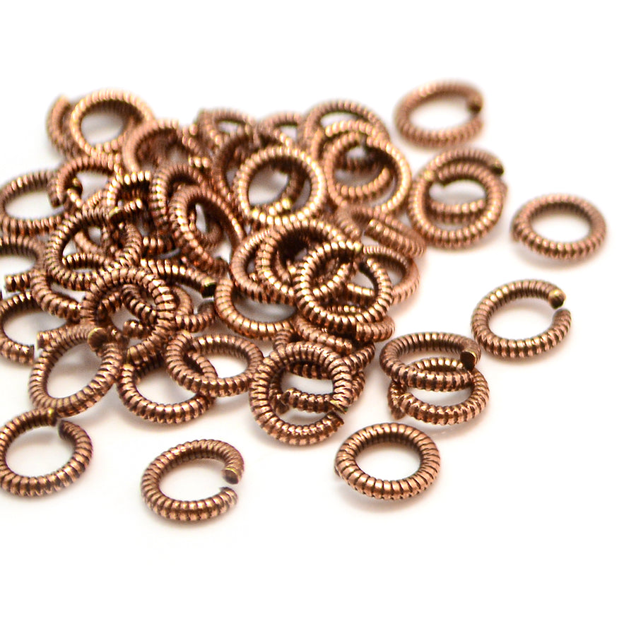 6mm Round Coil Jump Rings- Antique Copper