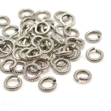 6mm Round Coil Jump Rings- Antique Silver