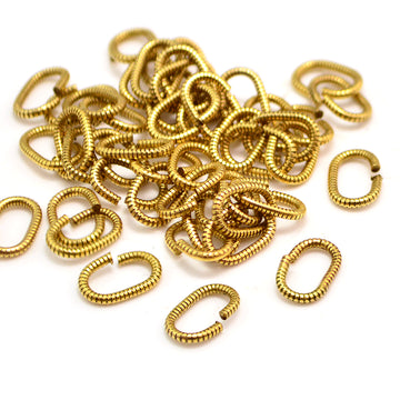 9mm Oval Coil Jump Rings- Antique Gold