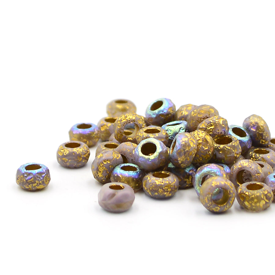 Thistle Etched Gold Wash Roller Bead