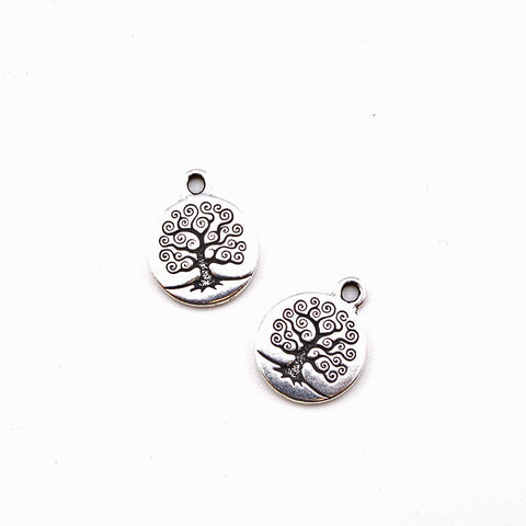 Tree of Life Charm- Antique Silver