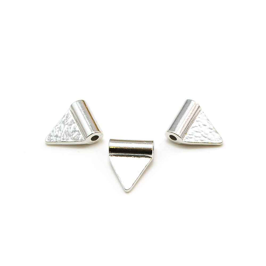 Triangle Flag Baule Bead- Antique Silver