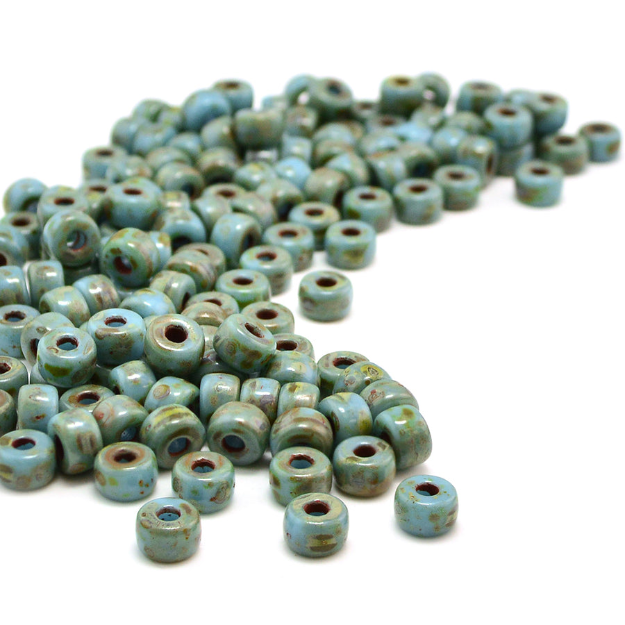 2/0 Matubos- Turquoise Blue Travertine