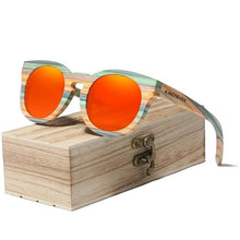 Load image into Gallery viewer, Handmade Cats Eye 'Rainbow Boos' Bamboo Frame Polarized Lens - trendshades.com