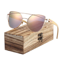 Load image into Gallery viewer, Striking Polarized Cats Eyes Sunglasses With Bamboo Box - trendshades.com