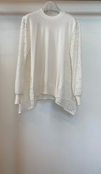 Cream knit top with lace back