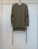 Revive Cashmere Tie Front Crew Neck Sweater