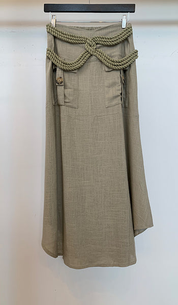 Linen skirt with rope detail