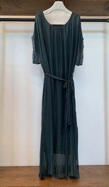 Long dress with spangle sleeve detail