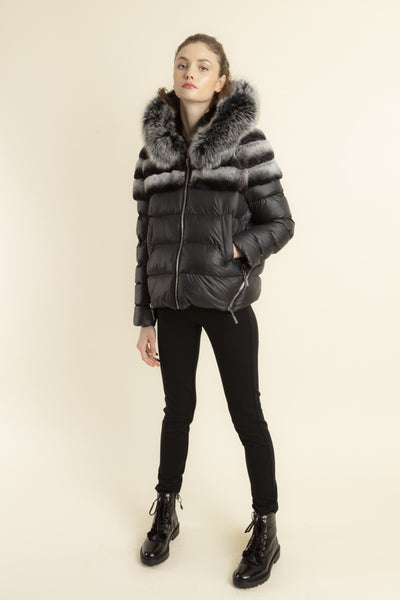 Max & Moi Rock Short Bi-Material Down Jacket Diego Black