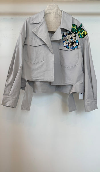 Short Spring Jacket w/ flower spangle detail