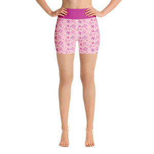 Pink Teacup Yoga Shorts