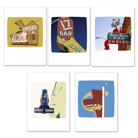 Set of Five Vintage Sign Cards (17 Bar & Club, Range Riders Bar, Body Shop, Drive In, Oasis Bar)