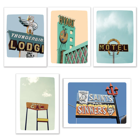 Set of Five Vintage Sign Cards (Thunderbird Lodge, Major Gas, Horseshoe Mote., Hyart Theater, 17 Bar & Club)