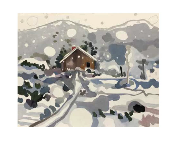 NEW, Larger Size and New Images. Set of eight winter-themed cards by Sheila Miles